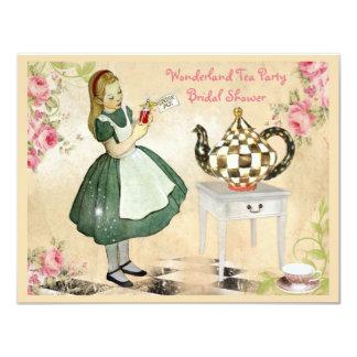 Cute Vintage Alice in Wonderland Bridal Shower 11 Cm X 14 Cm Invitation Card