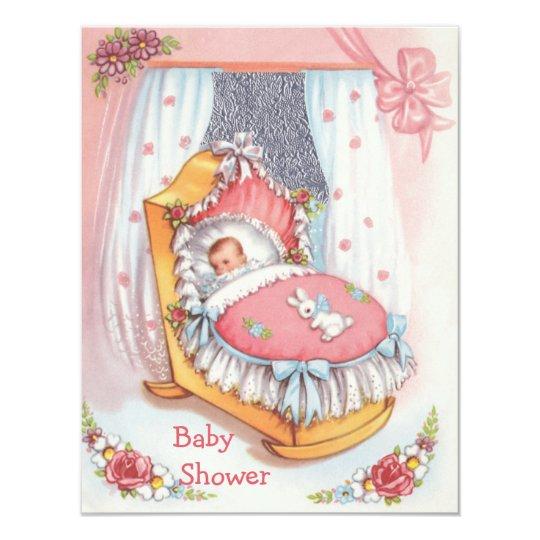 Cute Vintage Baby Girl in Crib Pink Baby