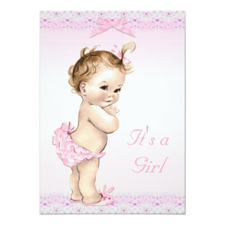 Cute Vintage Baby Girl Shower Faux Lace, Bows Card