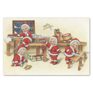 Cute Vintage Baby Santa Illustration Tissue Paper
