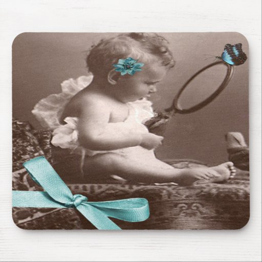 Cute Vintage Baby With Mirror Flower And Butterfly Mousepad