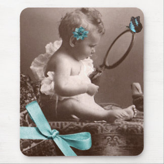 Cute Vintage Baby With Mirror Flower And Butterfly Mouse Pad