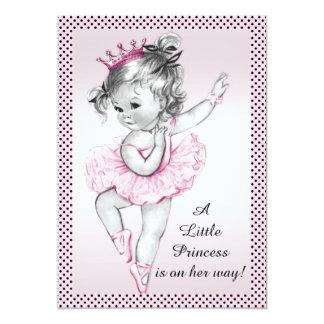 Cute Vintage Ballerina Princess Baby Shower 13 Cm X 18 Cm Invitation Card