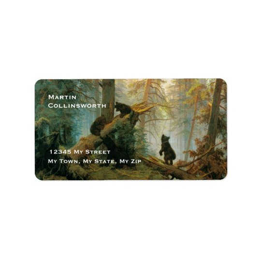 Cute Vintage Bear Cubs in a Forest Address Label