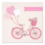 Cute Vintage Bicycle Happy Valentine's Day Invitation