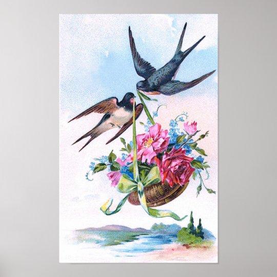 Cute Vintage Birds & Flowers Floral Poster