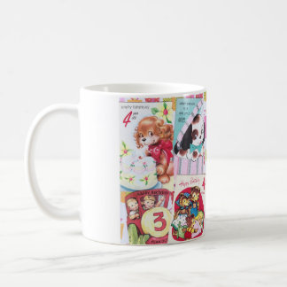 Cute Vintage Birthday Card Collage Mugs
