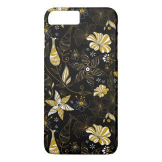 Cute vintage black golden floral background iPhone 7 plus case