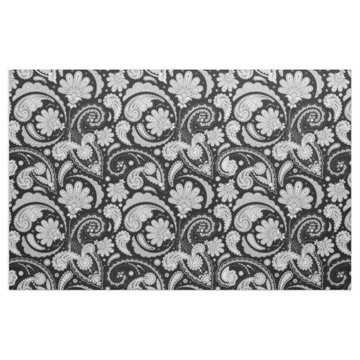 Cute vintage black white paisley patterns fabric