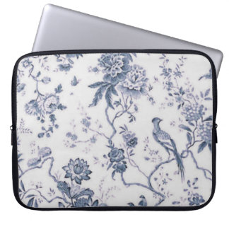 Cute Vintage Blue And White Bird Floral Laptop Sleeve
