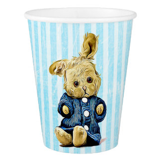 Cute Vintage Bunny Rabbit Blue Striped Paper Cup