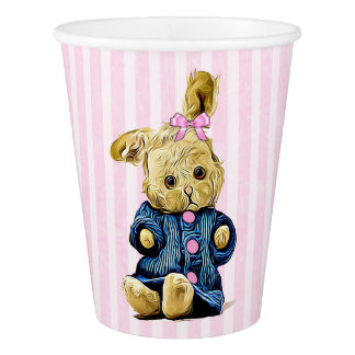 Cute Vintage Bunny Rabbit Pink Striped Paper Cup