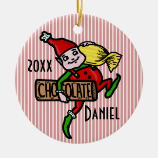 Cute Vintage Candy Christmas Elf Customizable Christmas Ornament