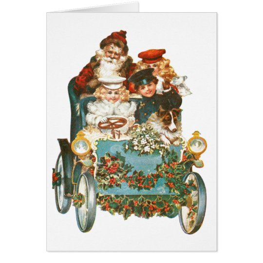 Cute Vintage Car | Santa Claus Christmas Card