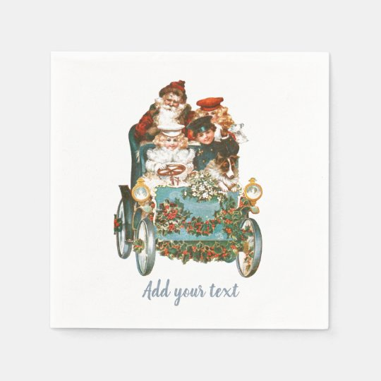 Cute Vintage Car | Santa Claus Christmas Paper