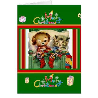 Cute Vintage Card Merry Christmas Kittens Dog