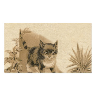 Cute Vintage Cat Drawing Antique French Card Business Card Templates