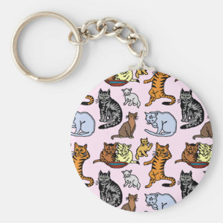 Cute Vintage Cat Drawing Pattern Basic Round Button Key Ring
