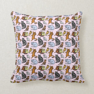 Cute Vintage Cat Drawing Pattern Throw Pillow
