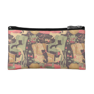 Cute Vintage Cats in furniture Cosmetic Bag