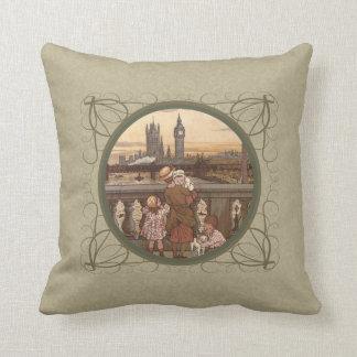 Cute Vintage children on London Bridge Throw Pillow