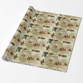 Cute Vintage Christmas Baby Robins Wrapping Paper