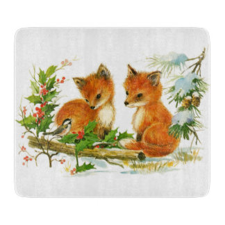 Cute Vintage Christmas Foxes Cutting Board