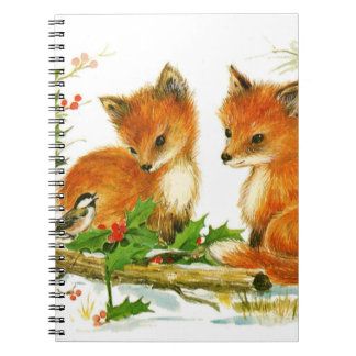 Cute Vintage Christmas Foxes Spiral Notebook