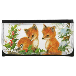 Cute Vintage Christmas Foxes Wallet