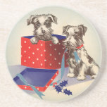 Cute Vintage Christmas Greetings Puppy Dogs Drink Coaster