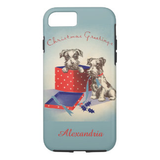 Cute Vintage Christmas Greetings Puppy Dogs iPhone 7 Case