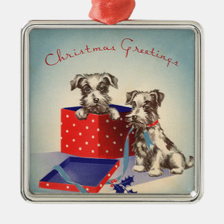 Cute Vintage Christmas Greetings Puppy Dogs Silver-Colored Square Decoration