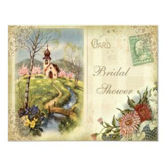 Cute Vintage Church Bridal Shower 11 Cm X 14 Cm Invitation Card