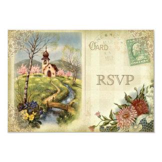 Cute Vintage Church RSVP Wedding 9 Cm X 13 Cm Invitation Card