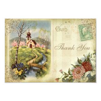Cute Vintage Church Thank You Wedding 9 Cm X 13 Cm Invitation Card