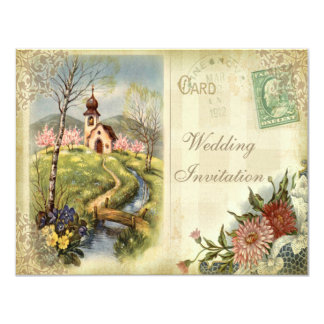 Cute Vintage Church Wedding Invitation