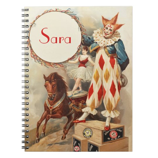 Cute Vintage Circus Clown Personalised Notebook