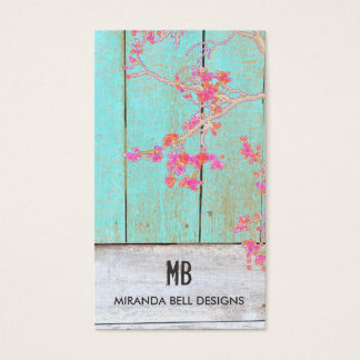 Cute Vintage Country Monogram Rustic Wood Business Card