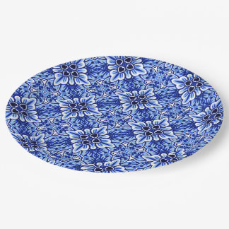 Cute Vintage Dutch Delft Blue Floral Pattern Paper Plate