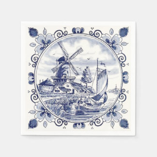 Cute Vintage Dutch Windmill Sailboat Delft Blue Disposable Napkin