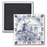 Cute Vintage Dutch Windmill Sailboat Delft Blue Square Magnet