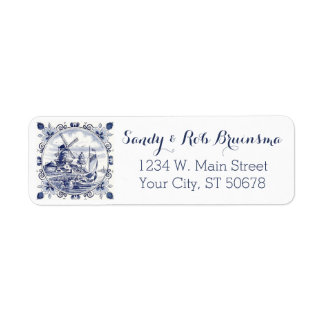 Cute Vintage Dutch Windmill Sailboat Delft Blue Return Address Label