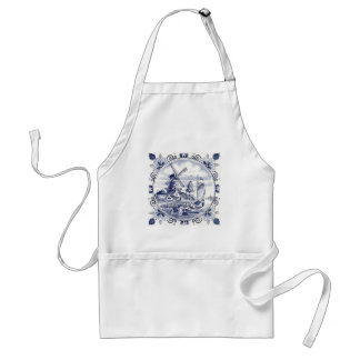 Cute Vintage Dutch Windmill Sailboat Delft Blue Standard Apron