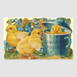 Cute Vintage Easter Chicks Rectangle Sticker