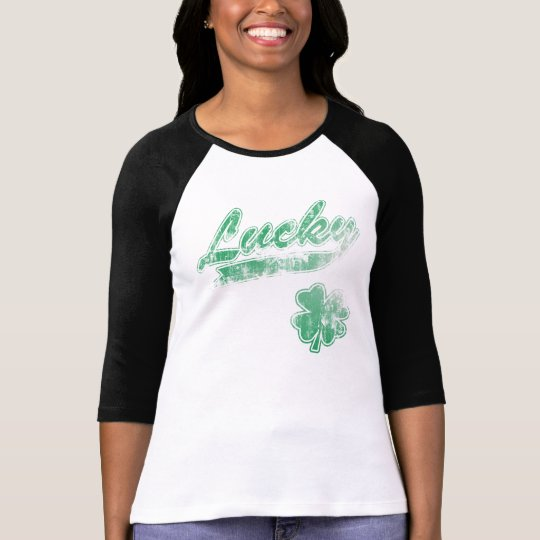 Cute Vintage Fade Irish Lucky Shamrock T-Shirt