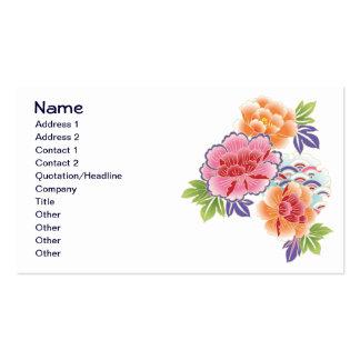 Cute Vintage Floral Pink Orange Flowers Business Card Template