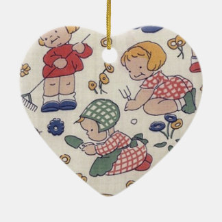 Cute Vintage Gardening Heart Christmas Ornament