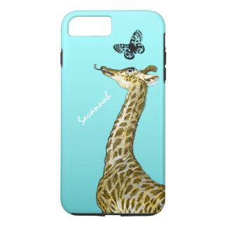 Cute Vintage Giraffe Licking a Butterfly on Aqua iPhone 7 Plus Case