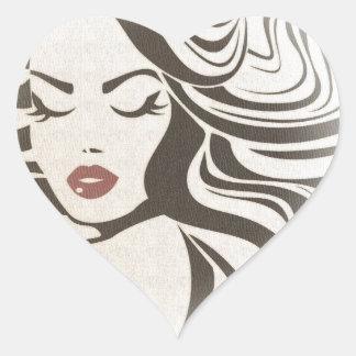 Cute vintage girl heart sticker