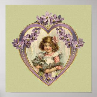 Cute Vintage Girl & Kitten Floral Heart Poster